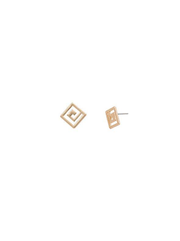 Greek key Studs Gold